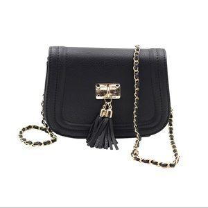 Black fringed leather sweet little purse